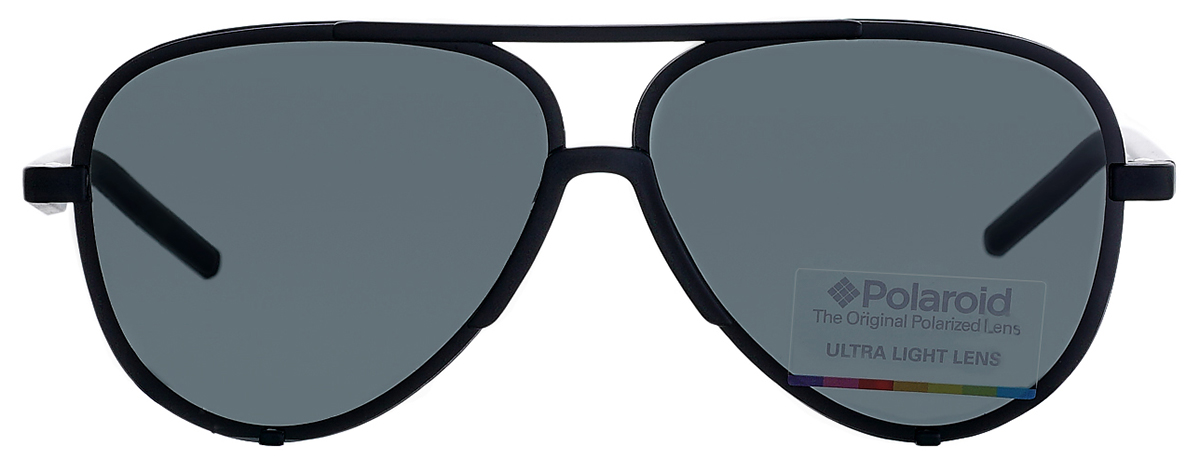 9f1aaf2a7cb5 Фото спереди - Мужские солнцезащитные очки Polaroid 6017 DL5 авиаторы  черного цвета